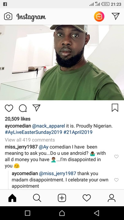 For Using Android Phone, AY Makun Called Out By Lady. See His Epic Reply