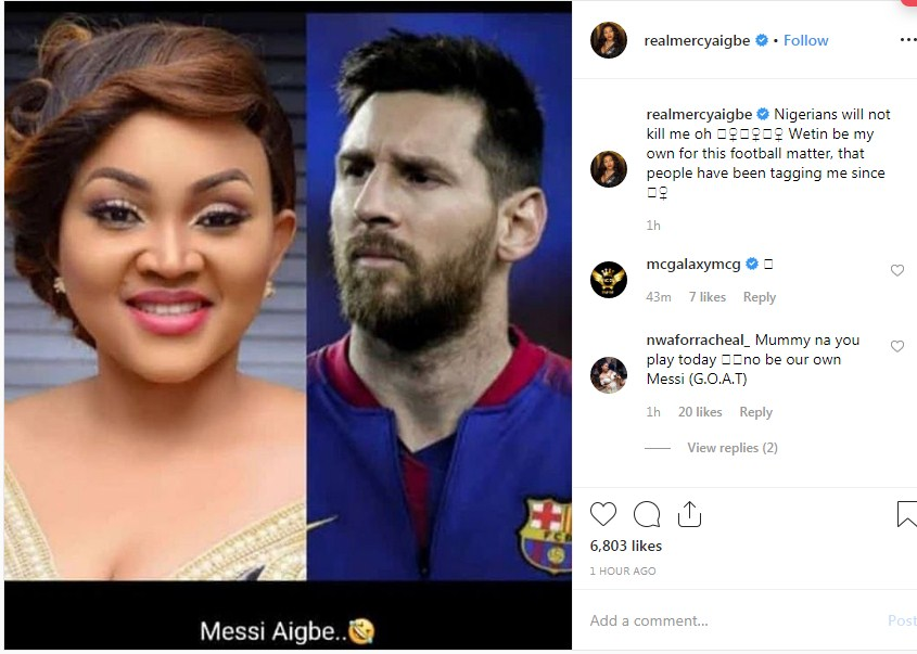 Mercy Aigbe Reacts To Twitter Trend As People Compares Her To Lionel Messi