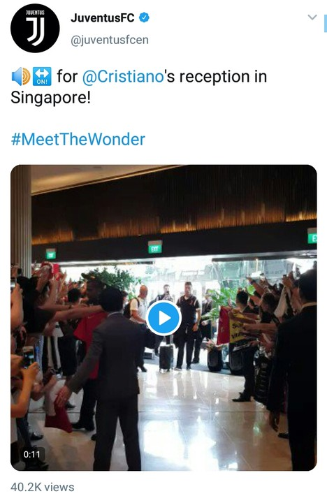 Cristiano Ronaldo And Juventus Stars Mobbed, Arrive Singapore For ICC