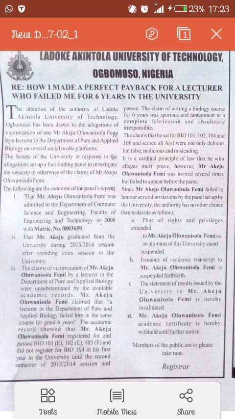 LAUTECH Suspends Certificate Of Graduate Who Claimed A Lecturer Victimised Him