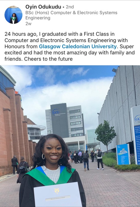 Oyin Odukudu Graduate With First Class From A UK University